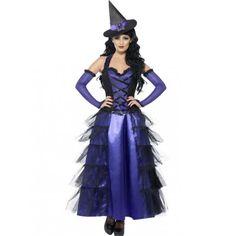 Disfraz de Bruja Violeta Glamurosa para mujer, para Halloween. Womens Halloween glamorous, violet witch costume.