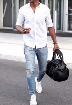 stylish men // urban men // gym bag // mens fashion // men // street fashion… Stop searching for that perfect outfit by clicking the link and buy that summer outfit! Mode Outfits, Casual Outfits, Men Casual, Fashion Outfits, White Shirt Outfits, Light Blue Jeans Outfit, Mens Casual Jeans, Stylish Mens Outfits, Smart Casual