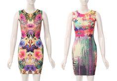 New Womens Sexy Summer Night Graphic Prints Scuba Bodycon Celebrity Style Dress
