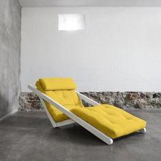 Figo, sovesofa, 80 cm, 9 farver, hvidt stel Outdoor Furniture, Outdoor Decor, Sun Lounger, Couch, Relax, Home Decor, Design, Yellow, Chair