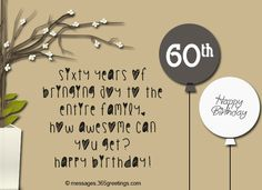 Happy 60th Birthday Cards Sentiments Bday Anniversary