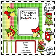 This all-in-one set features darling doodled bells and stars, scalloped frames and 4 gingham papers. Everything you need to create great product covers. newsletters, signs and more.  Includes 3 color bells 3 b/w bells 3 color stars 3 b/w stars 4 gingham papers (red, yellow, dk green, green) 5 frames (red, yellow, dk green, green and white) - Frames with and without white centers.  26 png images in all. 300dpi