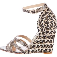 Pre-owned Schutz Jolene Embossed Wedge Sandals ($125) ❤ liked on Polyvore featuring shoes, sandals, neutrals, multi colored wedge sandals, black sandals, leather shoes, black wedge shoes and tan leather sandals
