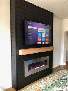 DIY Electric Fireplace Build - - DIY Electric Fireplace Build dream home DIY Elektrokamin bauen Fireplace Tv Wall, Build A Fireplace, Bedroom Fireplace, Faux Fireplace, Living Room With Fireplace, Fireplace Design, Fireplace Ideas, Basement Fireplace, Black Fireplace Surround