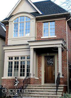 21 super ideas for front door ideas brick house exterior makeover Exterior House Siding, Exterior Paint Colors For House, Facade House, Exterior Colors, Gray Exterior, Exterior Homes, Exterior Windows, Grey Brick Houses, Red Brick Exteriors