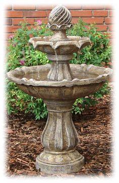 Tiered 34.5 Inch Earthtone Solar Powered Outdoor Bird Bath Fountain