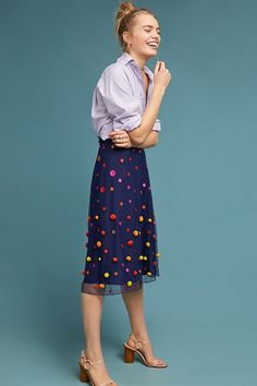 Slide View: 1: Dotted Tulle Skirt