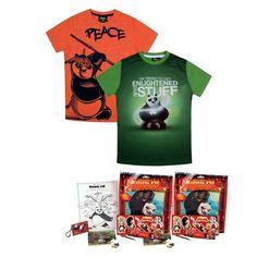 Jazzup Kung Fu Panda Boys T-Shirts With Free Goodies Bag - Pack Of 2