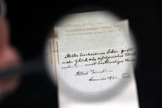 Strapped for cash in a Tokyo hotel, Albert Einstein wrote his take on life on a note and handed it to the bellboy instead of a tip. The physicist's formula for happy living fetched $1.3 million (£990,424) on Tuesday, a Jerusalem auction house said.