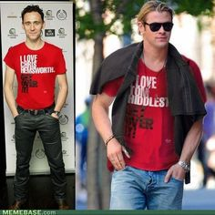 BWAHAHAHAHHAHA! I don't know if its funnier that they are wearing these shirts, or that Tom tucked his in like a gentleman.