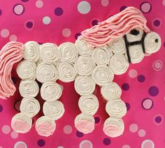 Horse Cupcake Cake for a little girls party. This could easily be turned into a unicorn;)