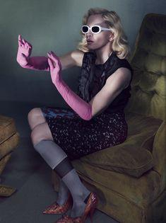 Madonna Photography Marcus Piggott, Mert Alas Stylist ARIANNE PHILLIPS TOP, SKIRT, AND SHOES: MIU MIU. SUNGLASSES: ROCHAS. GLOVES: PORTOLANO. SOCKS: PRADA.