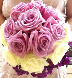 Almost ombre purple wedding floral bouquet