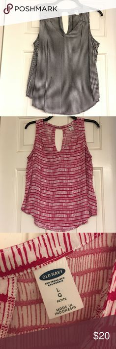 Bundle of 4 Old Navy Tops Four large petite Old Navy tops - pink/white pattern, solid pink, solid green, black/white checked. Price is for all, but if you want to separate please leave a comment. Old Navy Tops Tank Tops