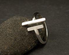 Parallelle staven Sterling Silver Ring eenvoudige door Artulia