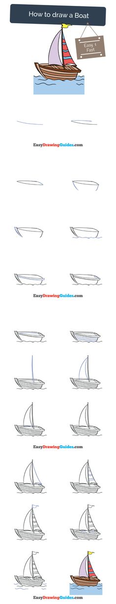 Learn How to Draw a Boat: Easy Step-by-Step Drawing Tutorial for Kids and Beginners. #boat #drawing #tutorial. See the full tutorial at https://easydrawingguides.com/how-to-draw-a-boat/