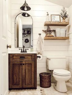 These rustic bathroom ideas will allow you to make a big impact with just a few elements. Check it now if you are a fan of rustic bathroom design! 29 Guest Bathroom Ideas to 'Wow' Your Visitors Downstairs Bathroom, Bathroom Renos, Bathroom Interior, Interior Paint, Shiplap Bathroom, Rustic Bathroom Designs, Bathroom Design Small, Small Bathrooms, Simple Bathroom