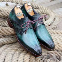Paul Parkman Men's Green Medallion Toe Derby Shoes Painting Leather, Derby Shoes, Clothing Hacks, Luxury Shoes, Men's Shoes, Oxford Shoes, Lace Up, Toe, Green