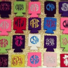 This listing is for a koozie with your choice of glitter vinyl for your monogram! These are perfect to use for any tailgate, party, or just