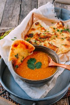 Indian Lentil Soup with Garlic Naan yummy Indian lentil soup is deliciously spicy, garlicky, heat, and comforting. add garlicky naan with this Indian lentil soup to fulfill your Indian food cravings Soup Recipes, Vegetarian Recipes, Cooking Recipes, Healthy Recipes, Indian Food Vegetarian, Garlic Recipes, Dinner Recipes, Freezer Recipes, Healthy Indian Food