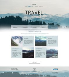Tour agency travel - landing page on behance Travel Website Design, Website Design Layout, Blog Layout, Travel Design, Web Layout, Layout Design, Website Designs, Design Web, Flat Design