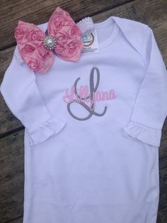 Items similar to Monogram baby gown, Baby girl embroidered gown, newborn coming home outfit, baby shower gift on Etsy Newborn Coming Home Outfit, Baby Gown, Girl House, Personalized Baby, One Pic, Baby Shower Gifts, Cute Babies, Infant, Trending Outfits