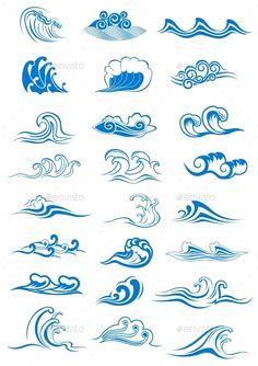Blue Ocean Waves Set