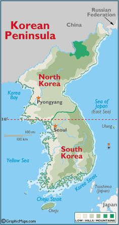Maps of Korea including South and North Korea which make up the Korean Peninsula. Print a free map of the Korean Peninsula or read about Korean Peninsula facts such as land area and other geographical information. Life In North Korea, South Korea, Social Studies Worksheets, Asia Map, Reunification, Korean Peninsula, Thinking Day, Korean War, Geography
