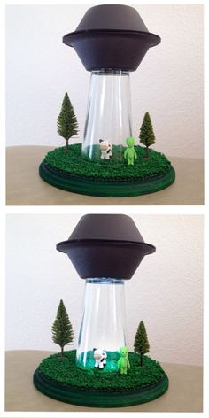 Alien abduction lamp! Cutest thing ever. Made this for my little brother.  All you need is: Glass cup (Dollar Store, $1) Circle wooden base (Michael's, $6) Air-dry clay (to make the cow & alien) Mini LED flashlight 2 styrofoam bowls Black spray paint Fake grass Mini tree figures (Michael's, $3) Super glue