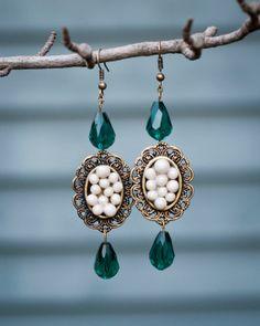 Handmade Polymer Clay Pearl Beads with Glass Emerald Beaded Earrings by JenniferAnnFineArt, $27.00 http://www.etsy.com/shop/JenniferAnnFineArt