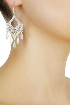 Silver finish seed pearls cut out earrings available only at Pernia's Pop Up Shop.