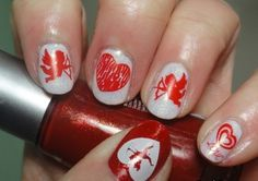 Manicure Valentine With Glitter