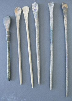 Authentic Ancient Bronze Roman Medical Tools Spoon Set of 6