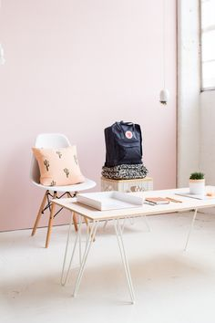DIY Pink Washed Plywood Coffee Table