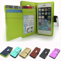 PU-Leather ID Bill Card Wallet Flip case Folio cover for iPhone 6/ Samsung/LG G #Goodp