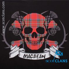 MacBean Tartan Skull T Shirt. Free worldwide shipping available