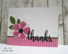handmade thank you card ... Share Joy #36 ... luv the Rosy Posey embossing folder texture ...