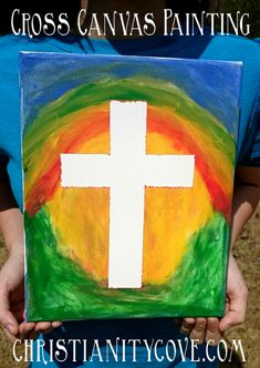 In this Sunday school craft, children make a cross painting on canvas, using tape and paint, while gaining a meaningful understanding of its symbolism. Cross Canvas Art, Cross Canvas Paintings, Kids Canvas Art, Kindergarten Sunday School, Sunday School Crafts, School Painting, Painting For Kids, Christian Canvas Paintings, Prayer Crafts