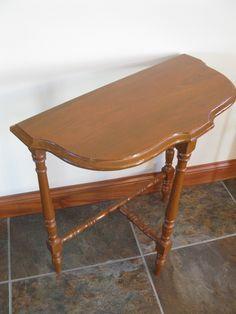 Vintage HALF MOON side table 3 legged table small wood table