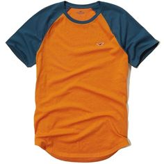 Hollister Must-Have Colorblock Raglan T-Shirt ($6.99) ❤ liked on Polyvore featuring men's fashion, men's clothing, men's shirts, men's t-shirts, men, orange, mens slim fit t shirts, men's color block shirt, mens raglan shirts and mens slim t shirts