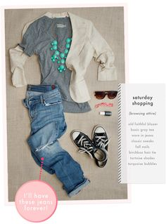 """Weekend Wear--I like the idea of """"dressing up"""" jeans & a tee w/ a statement necklace."""