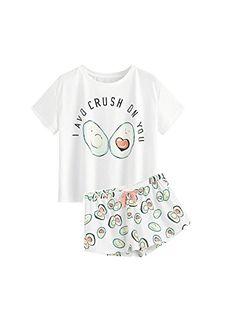 5e0f68305c Women s Sleep   Loungewear - DIDK Women s Cute Cartoon Print Tee and Shorts Pajama  Set at Women s Clothing store