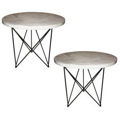 Pair of Enameled Steel and Marble Tables by Rene Brancusi