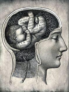 """Unborn ideas"" Graphic/Illustration by Catrin Welz-Stein posters, art prints, canvas prints, greeting cards or gallery prints. Find more Graphic/Illustration art prints and posters in the ARTFLAKES. Michael Sowa, Foto Fantasy, Brain Art, Brain Science, Science Art, Arte Popular, Kandinsky, Surreal Art, Art Plastique"