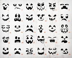 20661479 30 Halloween Pumpkin Face Stencils - Pumpkin Carving stencils, Monster Faces Clipart, Jack o' Lanter in 2019 Spooky Halloween Decorations, Cute Halloween, Holidays Halloween, Halloween Pumpkins, Quick Halloween Crafts, Halloween Templates, Halloween Treat Bags, Halloween Costumes, Halloween Gesicht