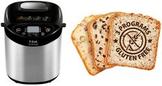 The T-fal ActiBread - make fresh, homemade bread w/easy-to-operate buttons, users can make 3 different gluten-free breads and 15 different kinds of bread w/settings including: basic, whole wheat, French, rolls, gluten free, sweet, rapid 1.5 lb loaf, rapid 2 lb loaf, dough, jam, cake, pasta and sandwich bread. A separate non-stick pan for rolls and sandwich buns & a recipe book. With a large LED screen, touchpad controls, non-stick interior and a ready signal it's easy to use and clean…