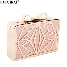 Cheap Lala IKAI 2015 nuevo lujo bolsos de tarde con arco de señora embrague día la moda Original de la marca Minaudiere mujeres geométricas bolsa BWF0069 5, Compro Calidad Bolsos de Noche directamente de los surtidores de China: