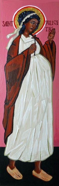 """St. Felicitas, Martyr Acrylic on innerglow panel with 23K gold leaf 6"""" x 18"""" 2009"""
