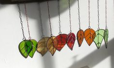 Stained Glass Sun Catcher 'Spring Leaves on Apple' Hanging Wind Chime/Mobile Window Glass Art. Birthday Gift OOAK by WylloWytch on Etsy Broken Glass Art, Shattered Glass, Sea Glass Art, Stained Glass Art, Fused Glass, Glass Art Pictures, Glass Art Design, Tiffany Glass, Mosaic Art