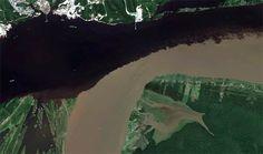As maravilhas naturais do Brasil vistas do espaço - Encontro das Águas - Rio Amazonas